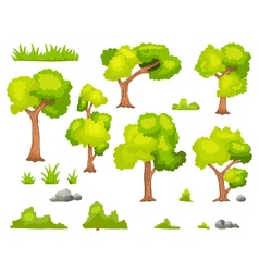 Set of cartoon green plant and tree vector image vector image