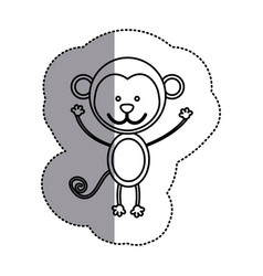 Contour teddy monkey icon vector