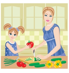 daughter helps mum vector image