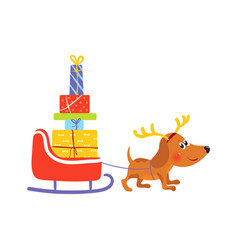 dog with reindeer antlers pulls sledge with gifts vector image
