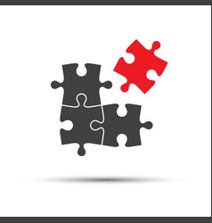 four puzzle pieces one red and three gray vector image vector image