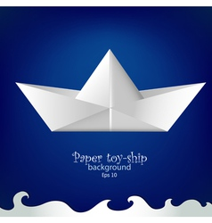 Paper toy ship background vector image vector image