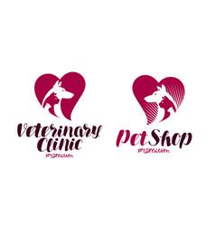 pet shop veterinary clinic logo animals dog vector image vector image