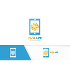 pizza and phone logo combination food and vector image