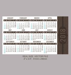 pocket calendar 2018 start on sunday vector image