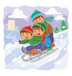 Three little boys roll together on sled from a vector image