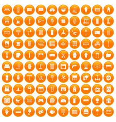 100 furnishing icons set orange vector