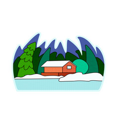 A snow-covered village vector
