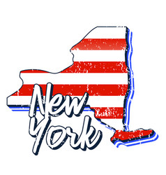 american flag in new york state map grunge style vector image