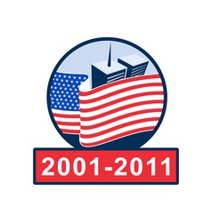 american flag with twin tower building 2001-2011 vector image