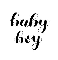 Baby boy brush lettering isolated on white vector
