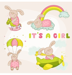 Baby Bunny Set - Baby Shower or Arrival Card vector