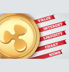 Background of ripple cryptocurrency infographic vector