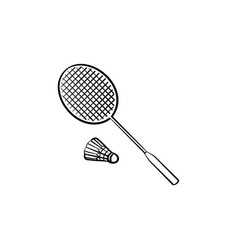 badminton racquet and shuttlecock hand drawn icon vector image