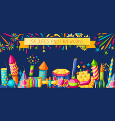 Banner with colorful fireworks different types vector