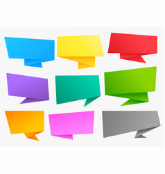Big set of colorful chat bubble origami banners vector