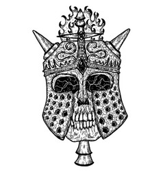 black and white scary skull vector image