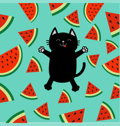 Black cat jumping or making snow angel watermelon vector