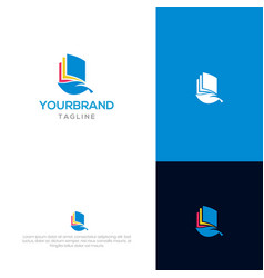 book with leaf logo design vector image