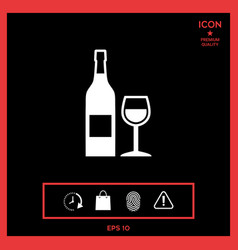 bottle of wine and wineglass icon vector image