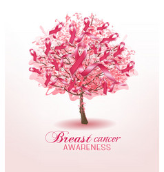Breast cancer awareness ribbons on a sakura tree vector