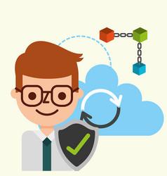businessman check mark cloud computing blockchain vector image