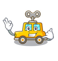 Call me clockwork toy car isolated on mascot vector