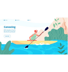 canoeing and kayaking water sport website vector image