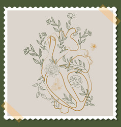 Card with human anatomical heart and flowers vector