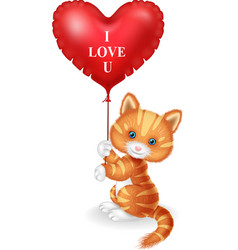 cartoon cat holding red heart balloon vector image