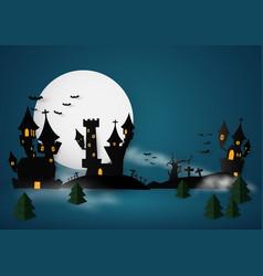 castle halloween banner background paper cut vector image