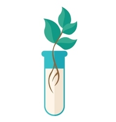 Chemical test tube with green plant vector
