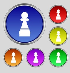 Chess Pawn icon sign Round symbol on bright vector