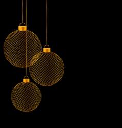 Christmas balls isolated on black vector image