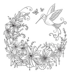 coloring flowers and birds 4 vector image
