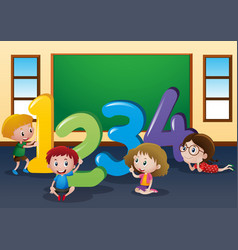 Counting numbers with kids in classroom vector