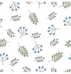 cute autumn pattern with berries and leaves vector image