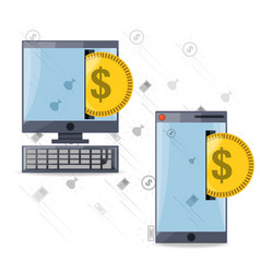 Depositing coin on smartphone and computer for vector