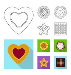 Design of biscuit and bake icon set of vector