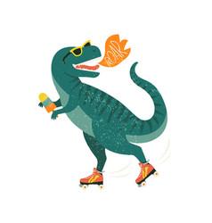 Dinosaur on roller skates with ice cream roar vector