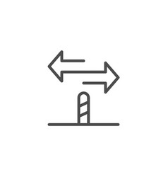 directional sign line outline icon vector image