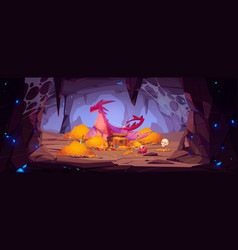 Dragon protect gold pile in cave fantasy character vector