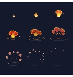 explode effect animation flame and smoke cartoon vector image
