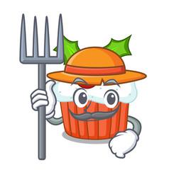 Farmer character christmas cupcake with holly vector