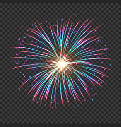 Fireworks with red and green shining sparks vector