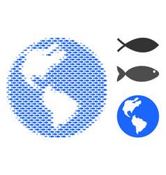 Fish halftone earth collage vector