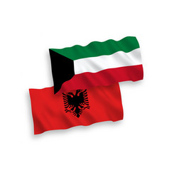 Flags albania and kuwait on a white background vector