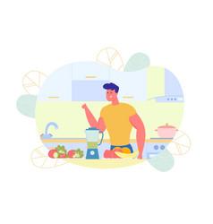 Flat athletic guy preparing vegetable smoothie vector