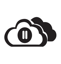 Flat black cloud pause button icon vector