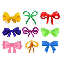 flat set of different bows made of bright vector image